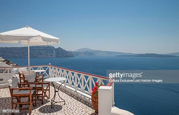 View of mediterranean from restaurant terrace, Santorini, Greece