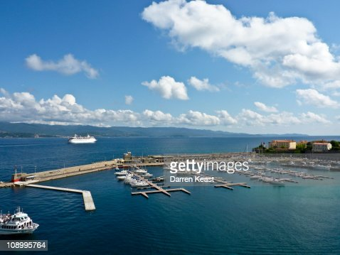 View of Mediterranean Sea from Port of Ajaccio.