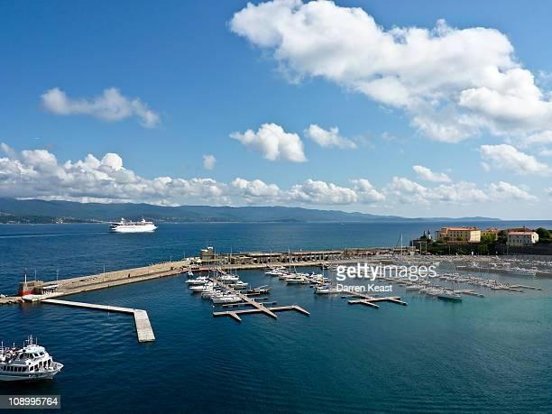 View of Mediterranean Sea from Port of Ajaccio.