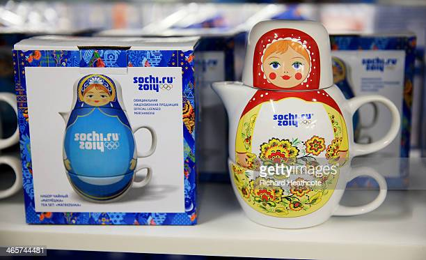 A view of merchandise on sale in a shop at the Sochi 2014 Winter Olympic Park in the Costal Cluster on January 29 2014 in Sochi Russia