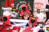 A view of merchandise prior to the 100th Rose Bowl Game presented by Vizio at the Rose Bowl on January 1 2014 in Pasadena California
