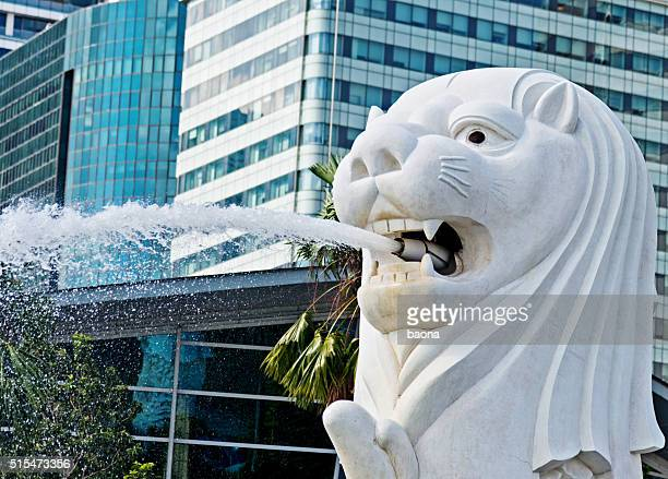 View of Merlion fountain in Singapore