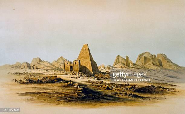 View of Meroe 18421845 engraving from Denkmaeler aus und Aegypten Aethiopien by Karl Richard Lepsius 19th century Turin Museo Egizio