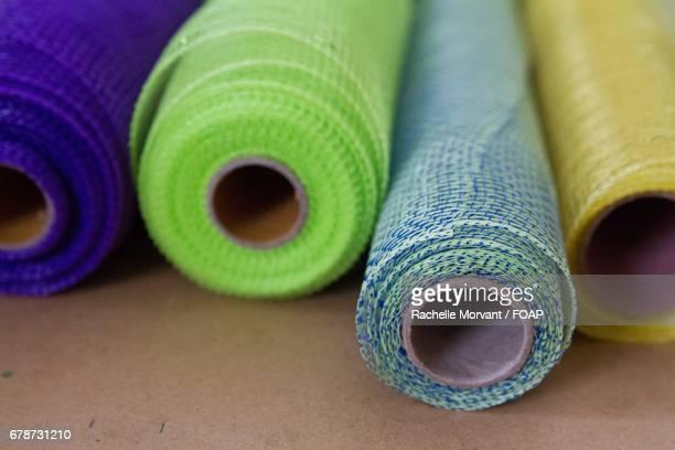 View of mesh fabric rolls