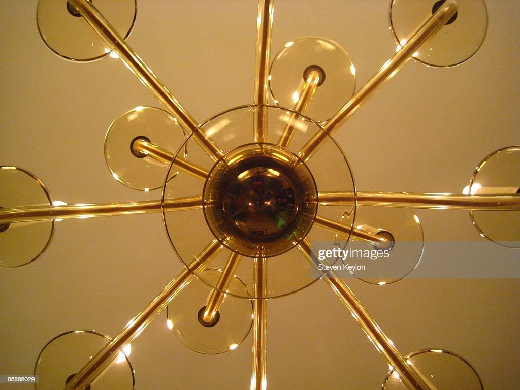 View of Mid Century Chandelier from Below : Stock Photo