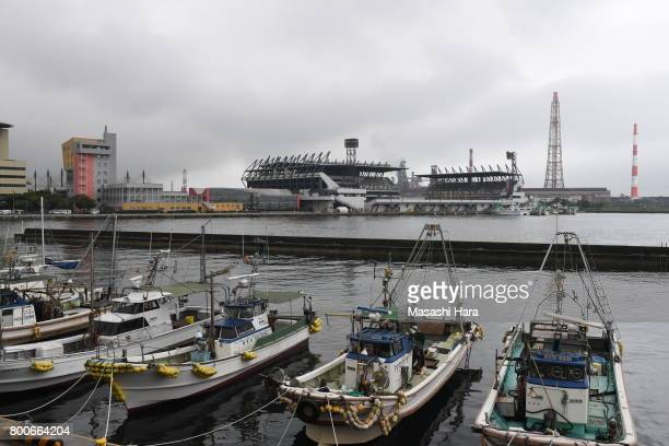 View of Mikuni World Stadium with fishing boats prior to the JLeague J3 match between Giravanz Kitakyushu and AC Nagano Parceiro at Mikuni World...