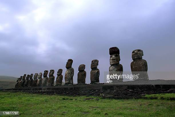 View of Moais stone statues of the Rapa Nui culture on the Ahu Tongariki site on Easter Island 3700 km off the Chilean coast in the Pacific Ocean on...