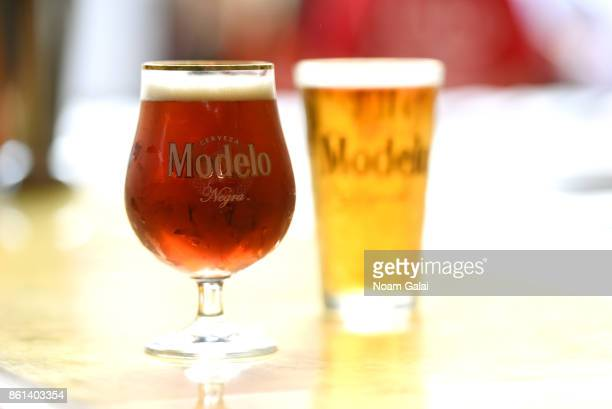 A view of Modelo beer during Pigs and Pints presented by InsideHook hosted by Robert Irvine at The Biergarten at The Standard on October 14 2017 in...