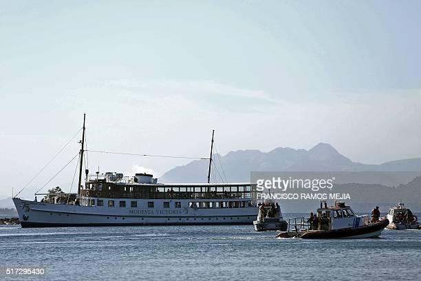 View of 'Modesta Victoria' vessel aboard which President Obama and his family sail on the Nahuel Huapi lake near San Carlos de Bariloche Rio Negro...