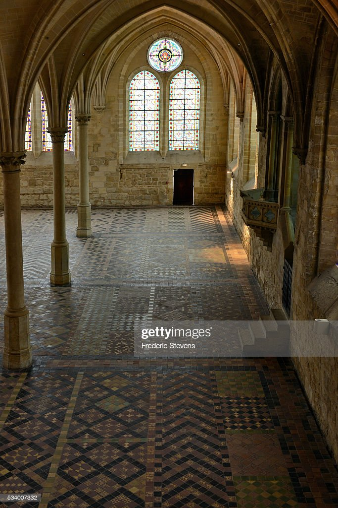 A view of Monks' refectory in Abbey Royaumont on May 24, 2016 in Asnieres-Sur-Oise, France. The Royaumont foundation is undertaking extensive construction work to refurbish the Abbey and extend its residential facilities and is due to be finished in July 2016. The abbey's current owners, the Daudy family, are well known in France for their cultivation of artistic talent, their generous philanthropy and their visionary taste in music and dance, on one occasion inviting Pink Floyd to perform in the grounds in 1971.