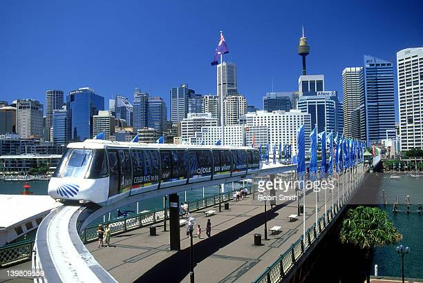 View of monorail and Sydney skyline from Darling Harbour