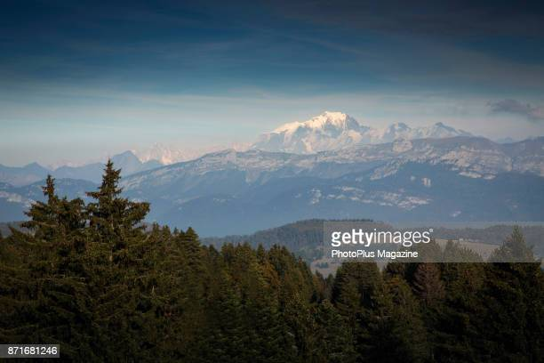 View of Mont Blanc photographed from the Belvedere du Revard viewpoint in eastern France taken on October 12 2016