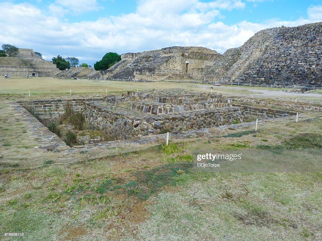 View of Monte Alban pyramids in ruins, Oaxaca, Mexico : Stock Photo