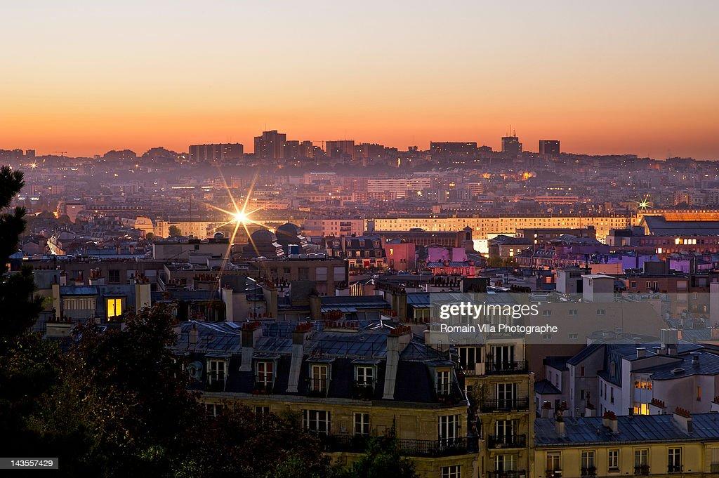 View of Montmartre in Paris at sunrise