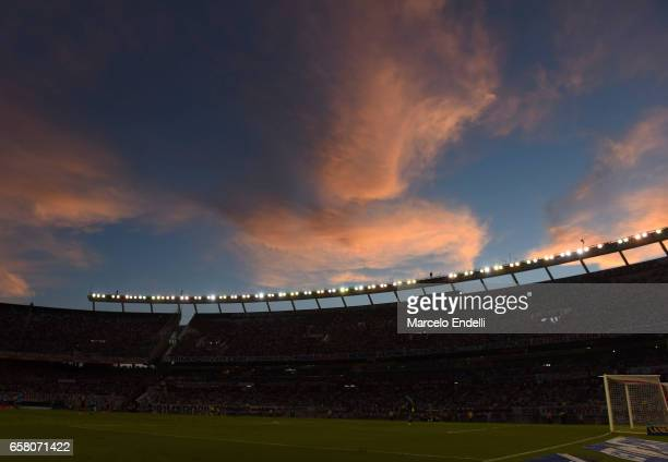 View of Monumental Stadium during a match between River Plate and Belgrano as part of Torneo Primera Division 2016/17 at Monumental Stadium on March...