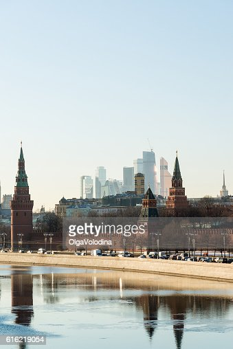 View of  Moscow Kremlin from  river, Russia : Bildbanksbilder
