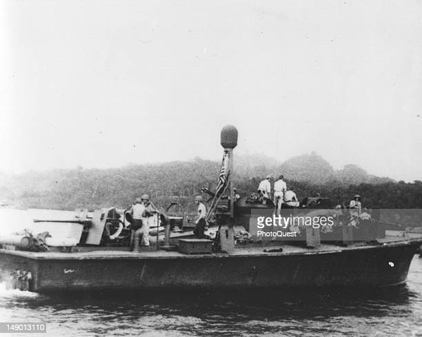 View of motor torpedo boat PT 59 during its World War II service in the Solomon Islands early to mid 1940s The boat was famously commanded by...