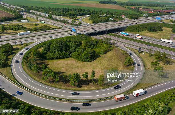 View of motorway flyover, Munich, Bavaria, Germany