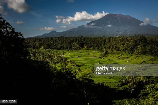 KARANGASEM BALI INDONESIA SEPTEMBER 29 A view of mount Agung on September 29 2017 in Karangasem regency Island of Bali Indonesia Indonesian...