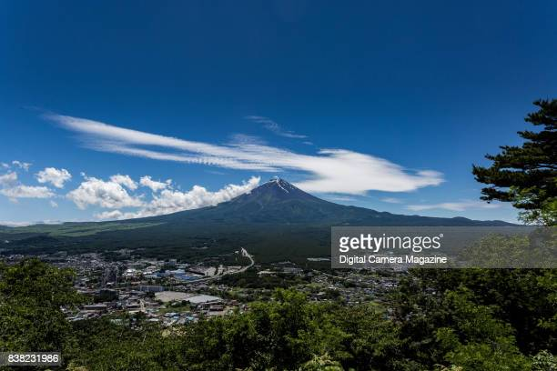 View of Mount Fuji in Japan photographed from the northeast with a 20mm wideangle lens taken on June 17 2016 The city of Fujiyoshida is visible in...