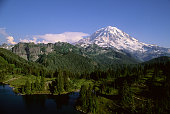 View of Mount Rainier and Eunice Lake in Mt Rainier National park