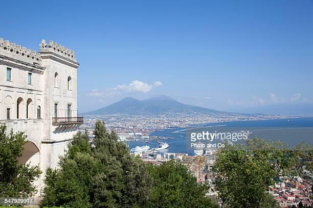 View of Mount Vesuvius over the bay of Naples