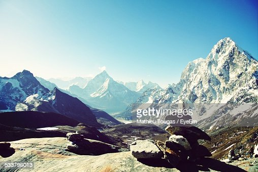 View Of Mountain Landscape On Sunny Day
