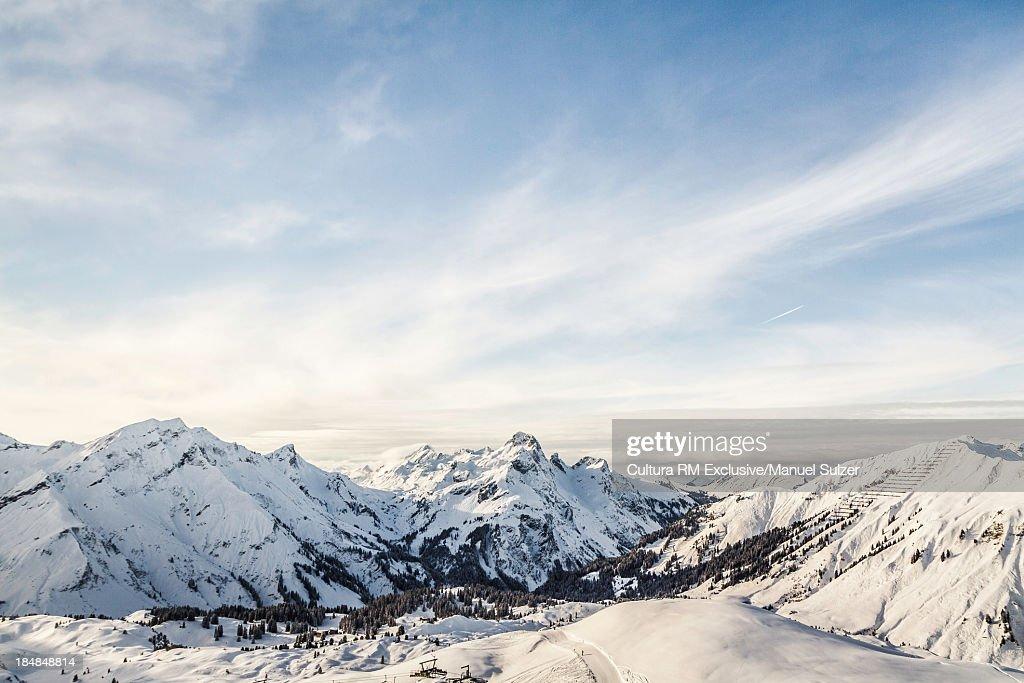 View of mountains and ski slope, Warth, Vorarlberg, Austria : Photo