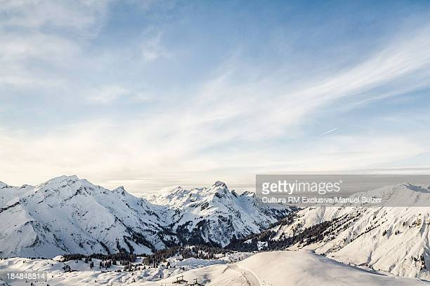 View of mountains and ski slope, Warth, Vorarlberg, Austria