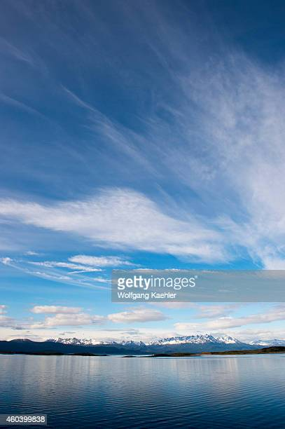 View of mountains and the Beagle Channel near Ushuaia Tierra del Fuego Argentina