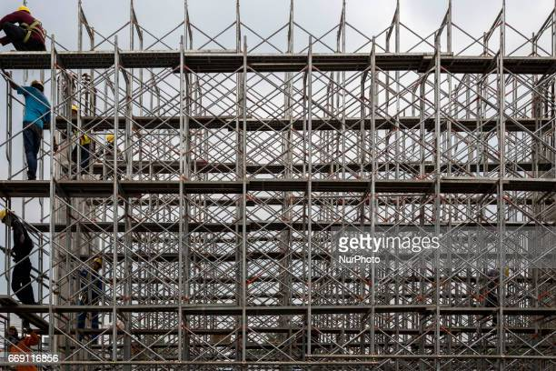 A view of MRT Development at Fatmawati Street area in Jakarta on April 16 2017 Mas Rapid Transportation at Jakarta scheduled will operate on mid of...