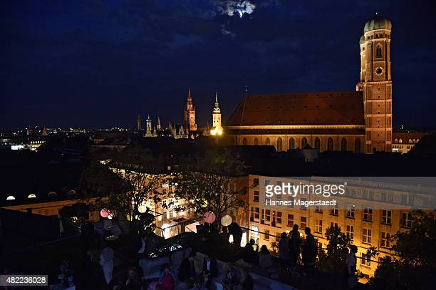 View of Munich's city centre with the Munich Cathedral and the City Hall during the summer party at Hotel Bayerischer Hof on July 28 2015 in Munich...