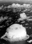 View of mushroom cloud erupting during Operation Crossroads an underwater nuclear weapons test held at Bikini Atoll in the Marshall Islands July 1946