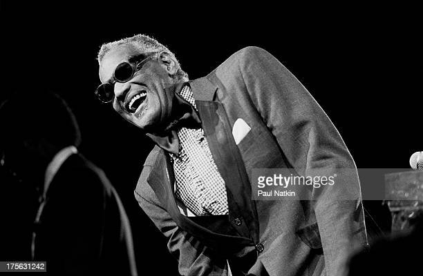 View of musician Ray Charles performing at Rosemont Horizon Chicago Illinois March 22 1985