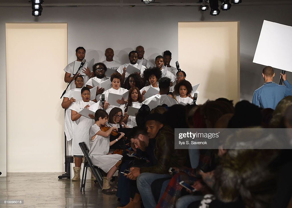 A view of musicians performing on the runway during Pyer Moss Fall 2016 during MADE Fashion Week at Milk Studios on February 13, 2016 in New York City.