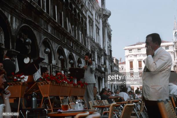 A view of musicians playing at an outdoor cafe on September 12 1963 in Venice Italy