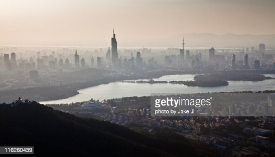View of Nanjing skyline during sunset
