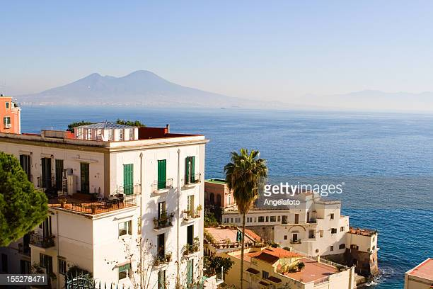 View of Naples City Panorama With Vesuvious and Castel Dell'Ovo