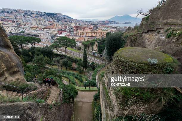 A view of Naples from the Publio Virgilio Marone and Giacomo Leopardi tombs in the Virgiliano park on Piedigrotta downtown Naples