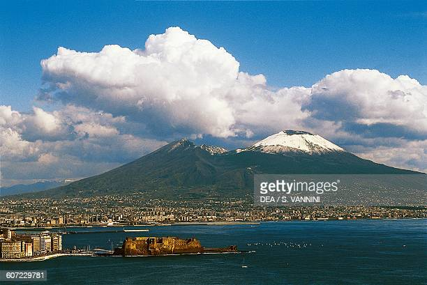 View of Naples with Castel dell'Ovo in the foreground and Mount Vesuvius in the background Campania Italy