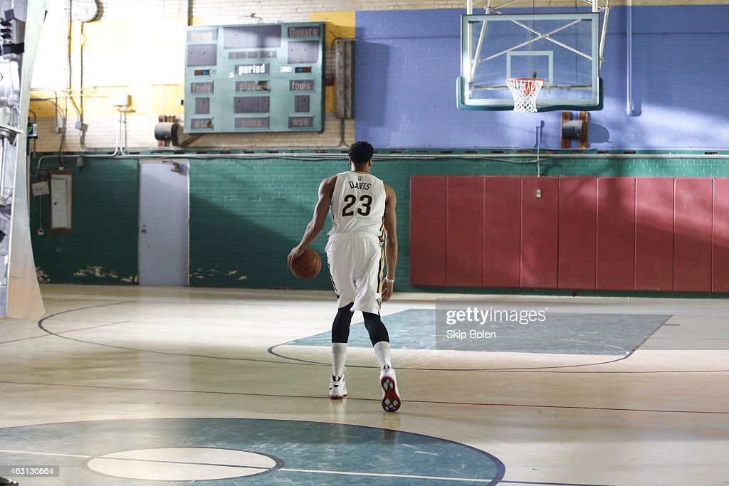 A view of New Orleans Pelicans power forward Anthony Davis at the American Express PIVOT shoot at Martin Behrman School on January 20 2015 in New...