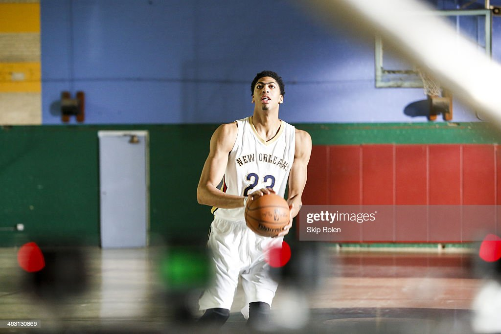 A view of New Orleans Pelicans power forward <a gi-track='captionPersonalityLinkClicked' href=/galleries/search?phrase=Anthony+Davis+-+Basketball+Player&family=editorial&specificpeople=9539354 ng-click='$event.stopPropagation()'>Anthony Davis</a> at the American Express PIVOT shoot at Martin Behrman School on January 20, 2015 in New Orleans, Louisiana.