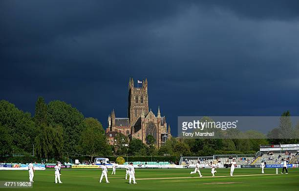 A view of New Road as dark clouds build up behind Worcester Cathedral while Worcestershire play Warwickshire during the LV County Championship match...