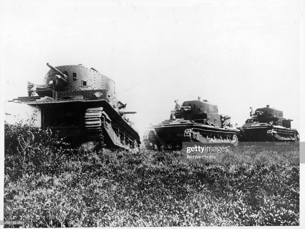 A view of new Royal baby tanks during a military drill in Aldershot England Circa 1930