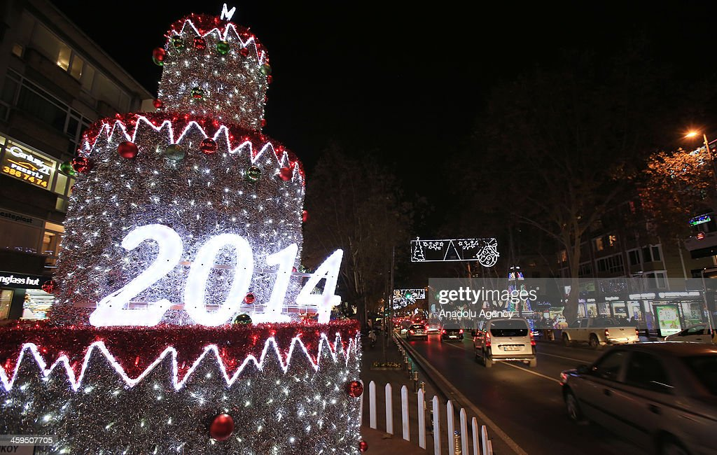 A view of New Year lights in Bagdat Avenue, located on the Anatolian side of Istanbul, Turkey on December 24, 2013. Streets of the Istanbul were decorated with lights to celebrate the upcoming New Year.