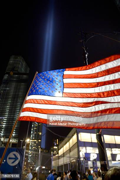 A view of New York City and the 'Tribute In Light' marking the twelfth anniversary of the terrorist attacks at the World Trade Center on September 11...