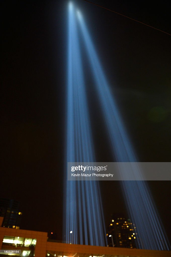 A view of New York City and the 'Tribute In Light' marking the twelfth anniversary of the terrorist attacks at the World Trade Center on September 11, 2013 in New York City. New York City and the nation are commemorating the twelfth anniversary of the September 11, 2001 attacks which resulted in the deaths of nearly 3,000 people after two hijacked planes crashed into the World Trade Center, one into the Pentagon in Arlington, Virginia and one crash landed in Shanksville, Pennsylvania.