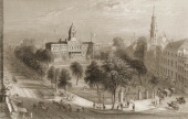 View of New York city showing City Hall and its nearby park and Broadway circa 1838
