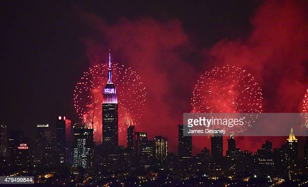 View of New York City's 39th annual Macy's 4th of July fireworks show on July 4 2015 in New York City
