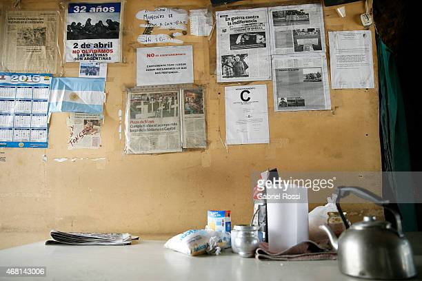 View of newspaper cuts with news related to Malvinas at the Continental Veterans Camp at Plaza de Mayo on March 27 2015 in Buenos Aires Argentina...